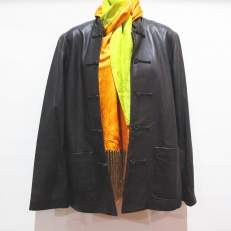 Leather Jacket with Silk Scarf