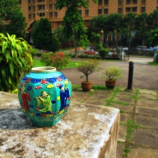 Turquiose angle vase with 8 Lohans