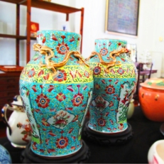 Turquoise & Gold Hand Painted Vase