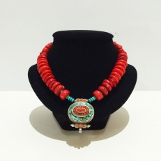 Red ethnic bead necklace