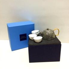 Selangor Pewter Chinese tea set-peony design
